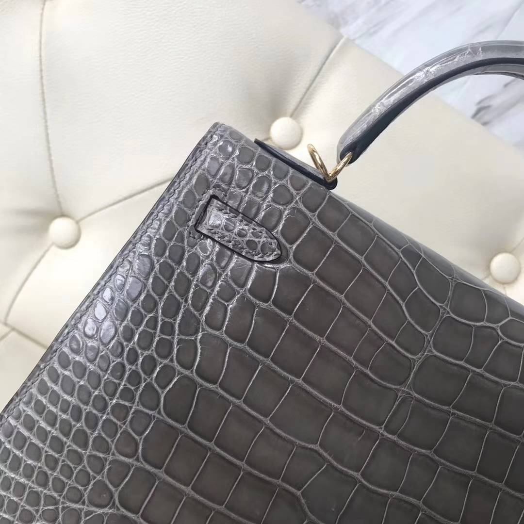 Noble Hermes M8 Gris Ashpite Shiny Crocodile Leather Kelly25CM Bag Gold/Silver Hardware