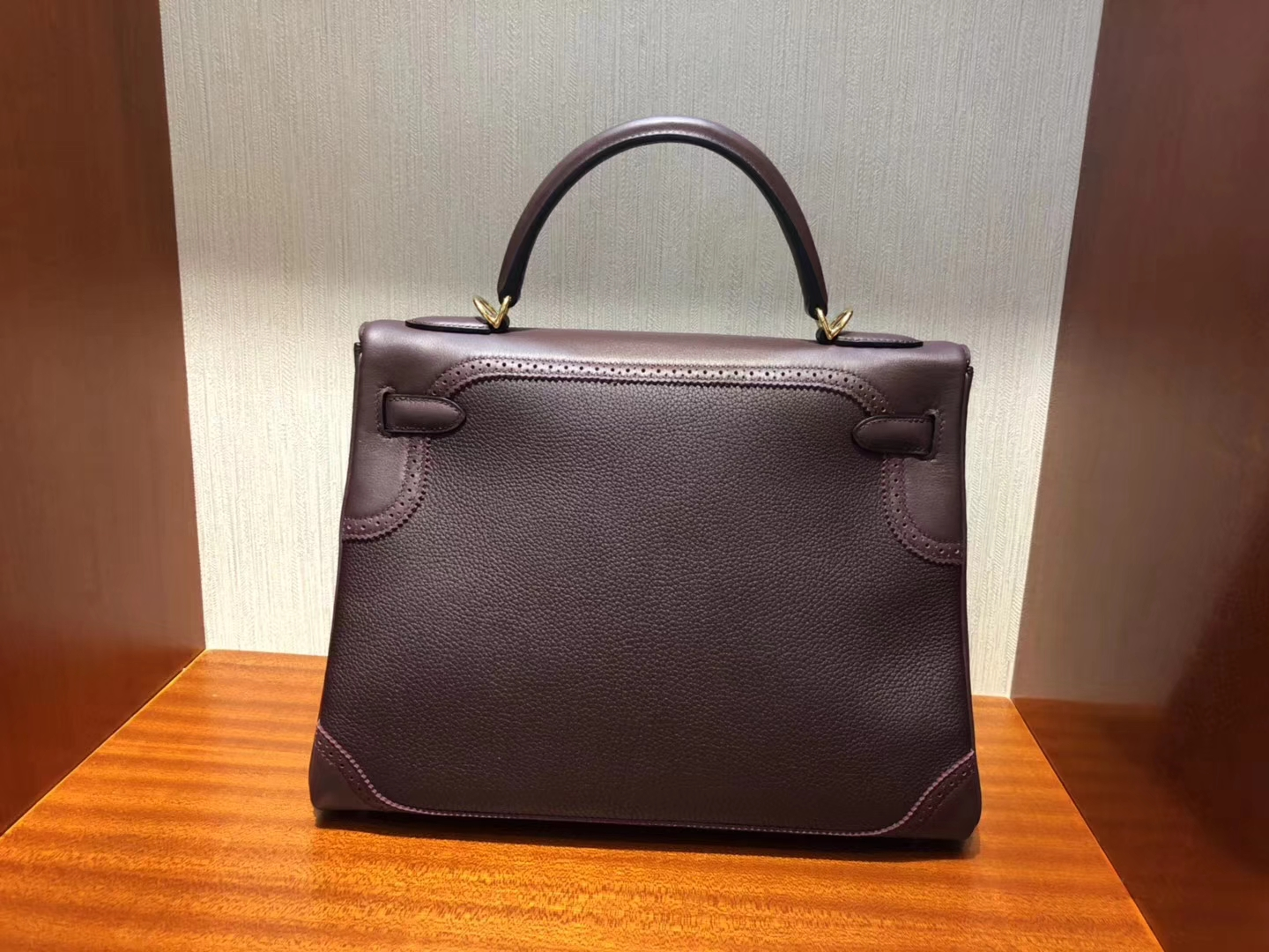 Fashion Hermes CK57 Bordeaux Red Togo Calf Ghillies Kelly Bag28CM Gold Hardware