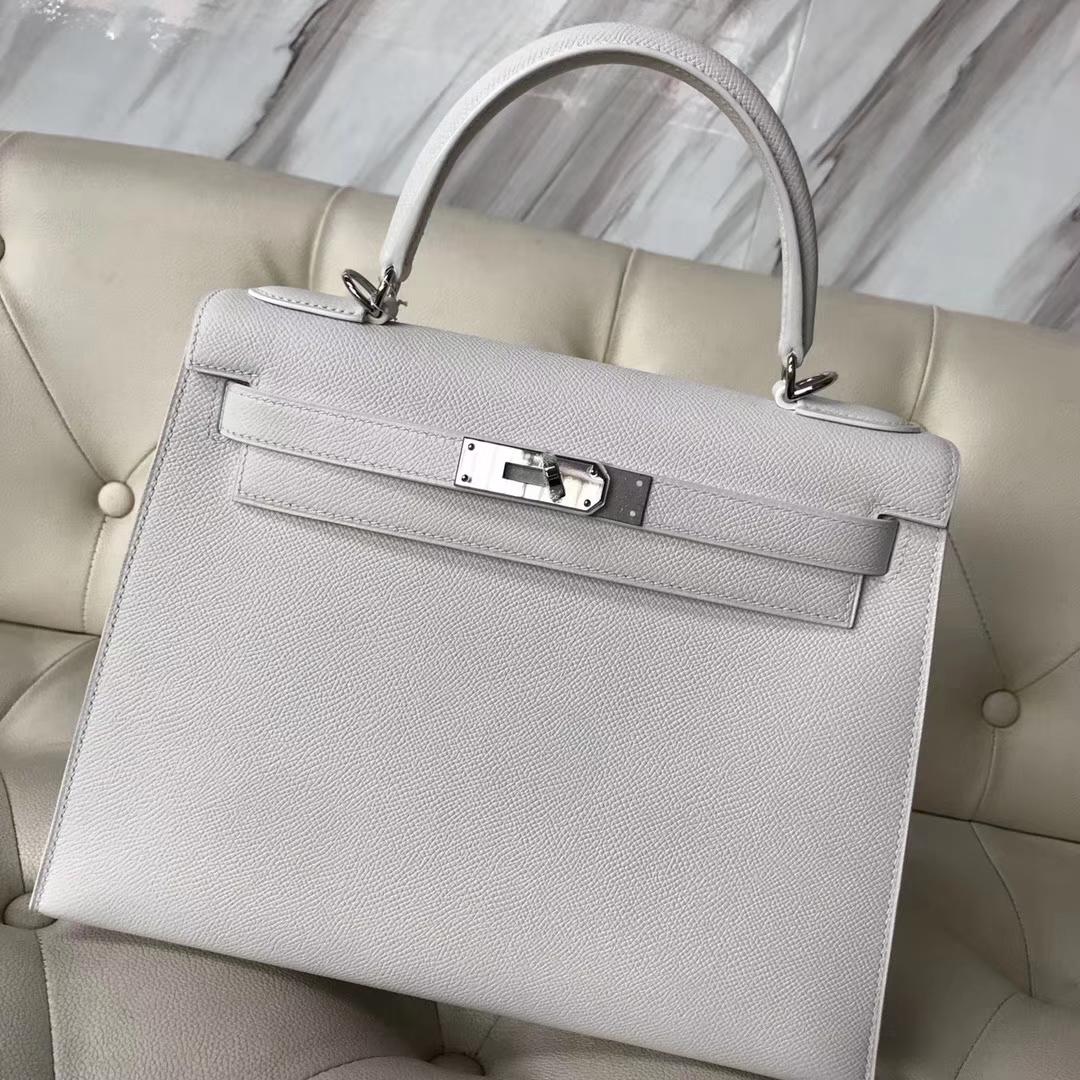 Discount Hermes Epsom Calf Sellier Kelly Bag28M in 01 White Silver Hardware
