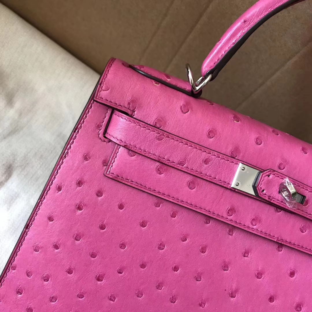 Noble Hermes E5 Rose Peach Ostrich Leather Sellier Kelly28CM Bag Silver Hardware