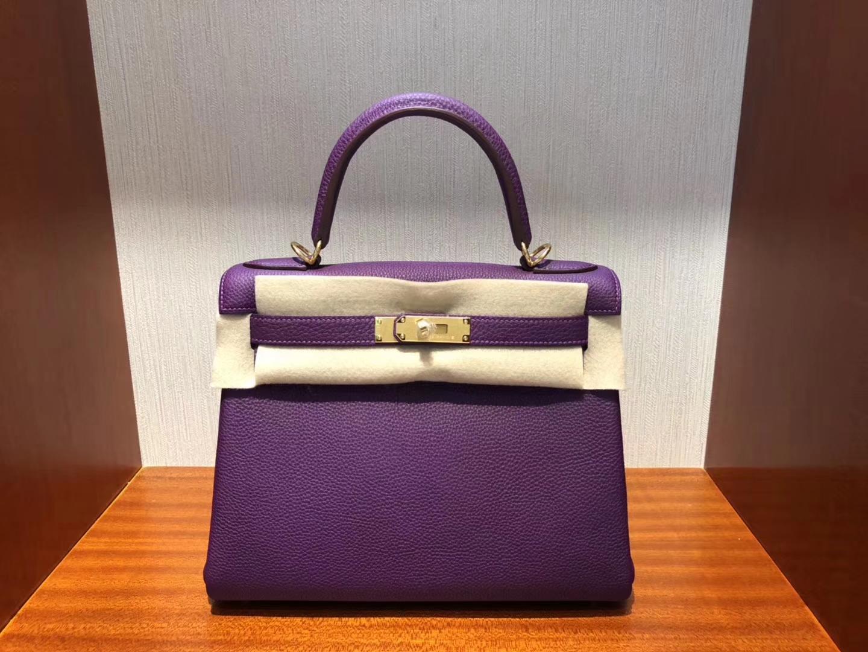 New Hermes Togo Calf Kelly Bag28CM in P9 Anemobe Purple Gold Hardware
