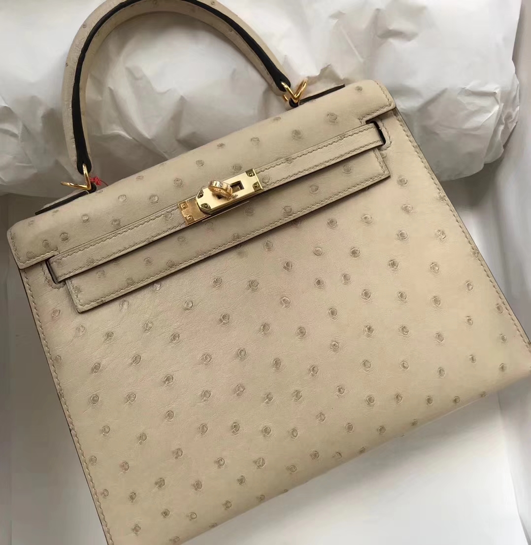 Hand Stitching Hermes 3C Wool White Ostrich Leather Kelly Bag28CM Gold Hardware