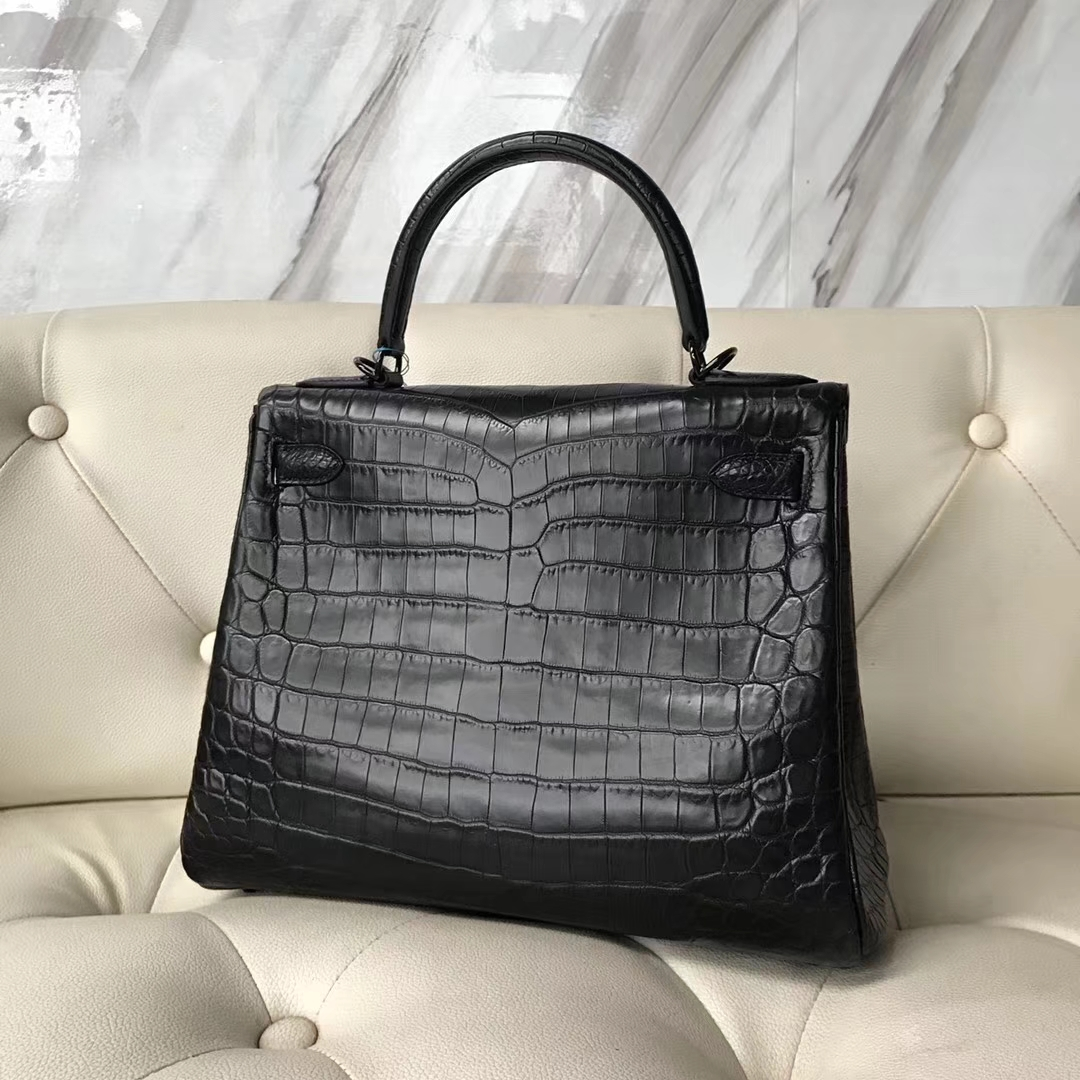Sale Hermes CK89 Black Crocodile Matt Leather Kelly Bag28CM Black Hardware