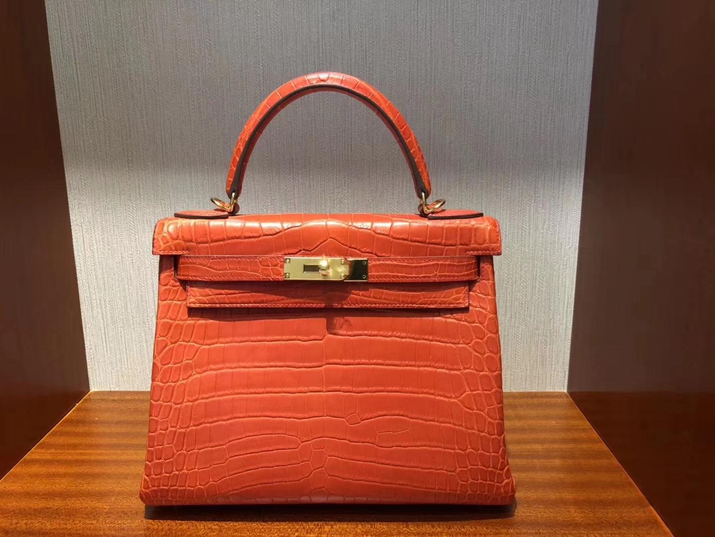 Discount Hermes Crocodile Matt Leather Kelly28CM Bag in 9J Orange Gold Hardware