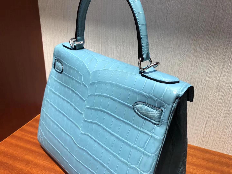 Noble Hermes 3Z Blue Saint-cyr Crocodile Matt Leather Kelly28CM Bag Silver Hardware