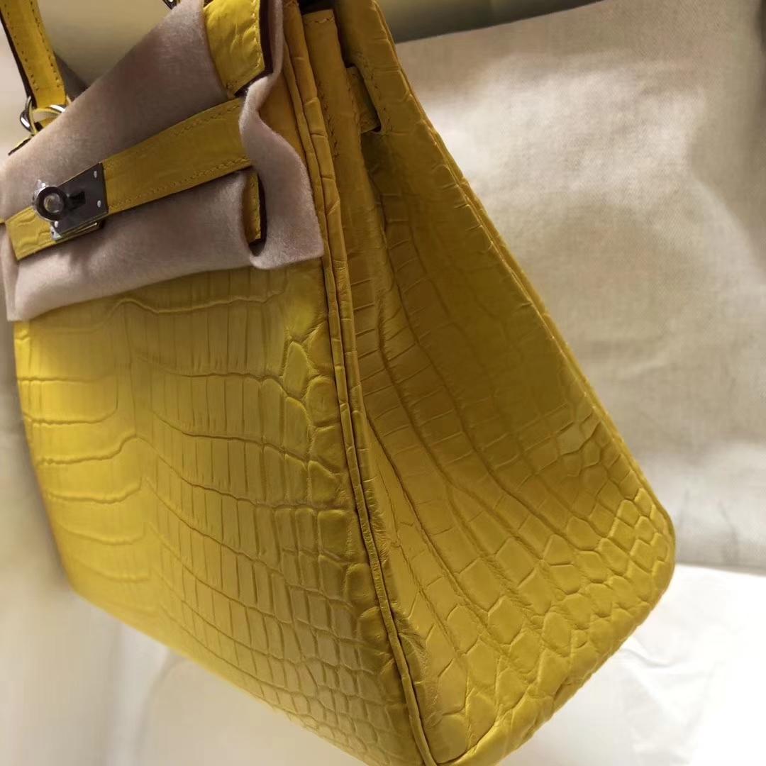 Wholesale Hermes MattCrocodile Leather Kelly28CM Bag in 9R Lemone Yellow Silver Hardware