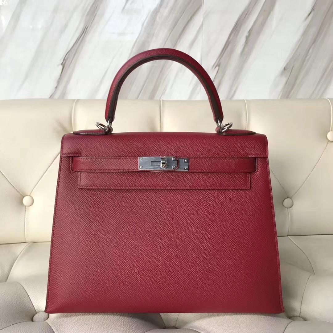 Wholesale Hermes K1 Rouge Grenade Epsom Calf Kelly28CM Bag Silver Hardware