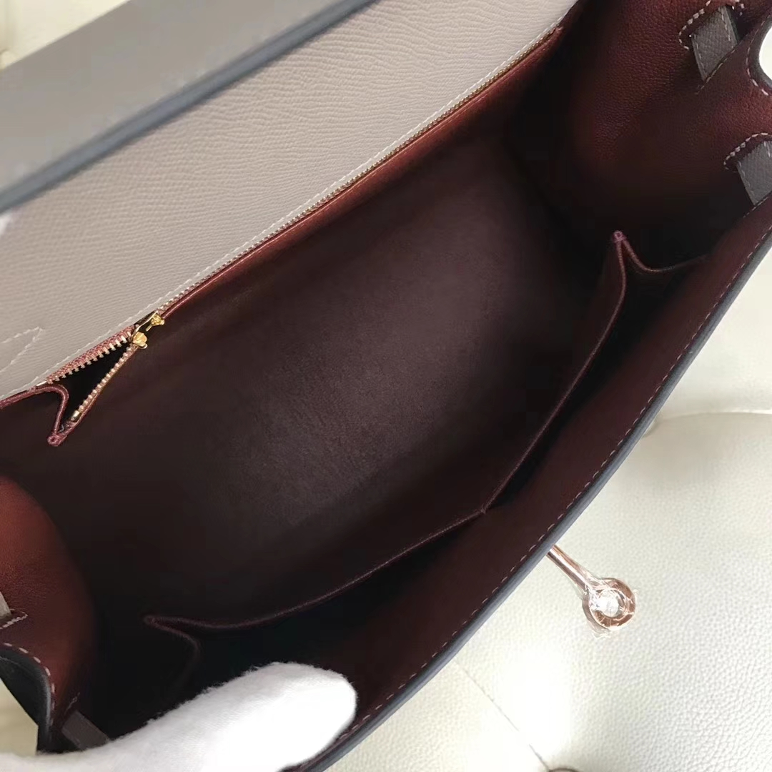 Discount Hermes M8 Gris Ashpite/Wine Red inner Epsom Calf Kelly Bag28CM Rose Gold Hardware