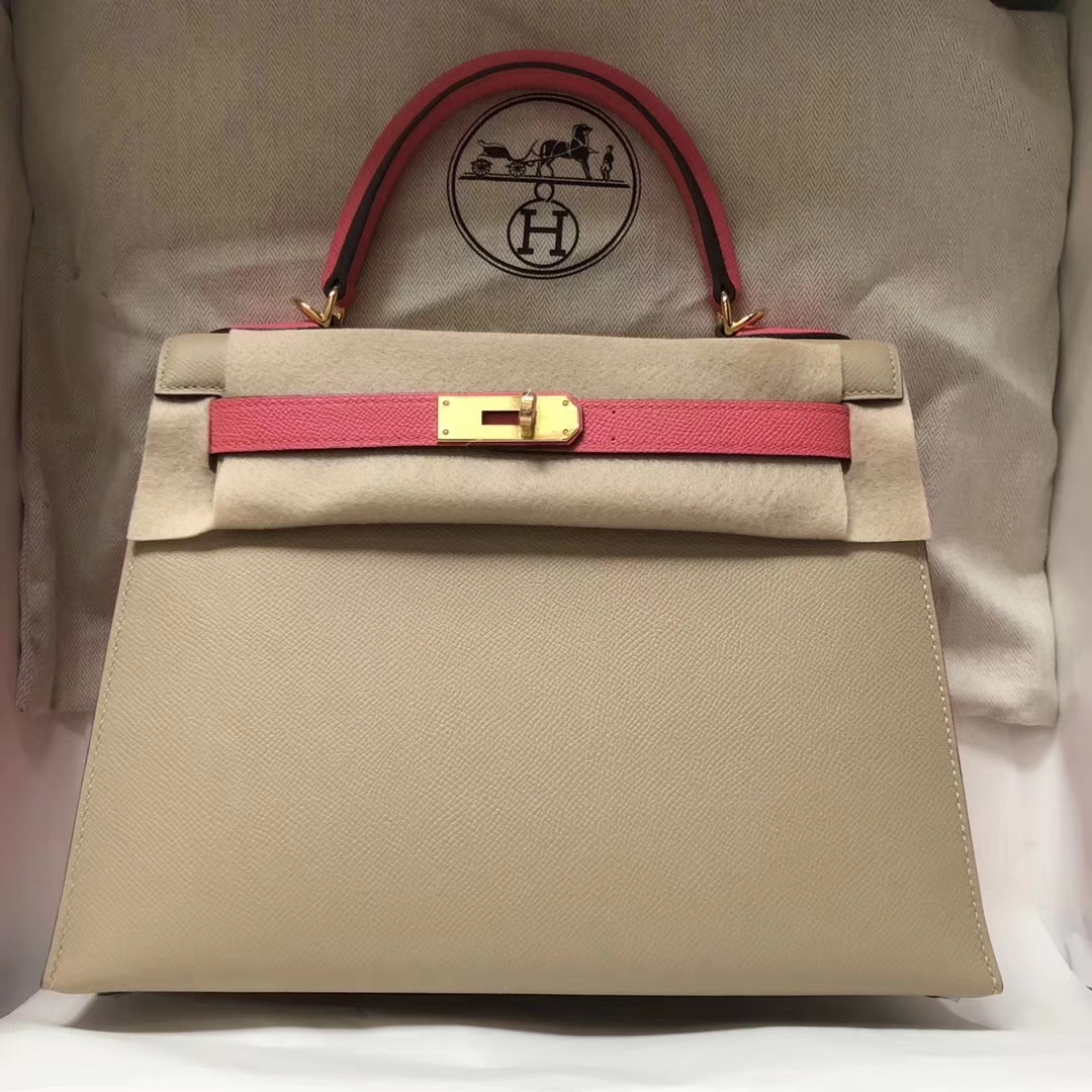 Fashion Hermes S2 Trench Grey/8W Rose Azalee Epsom Calf Kelly Bag28CM Gold Hardware