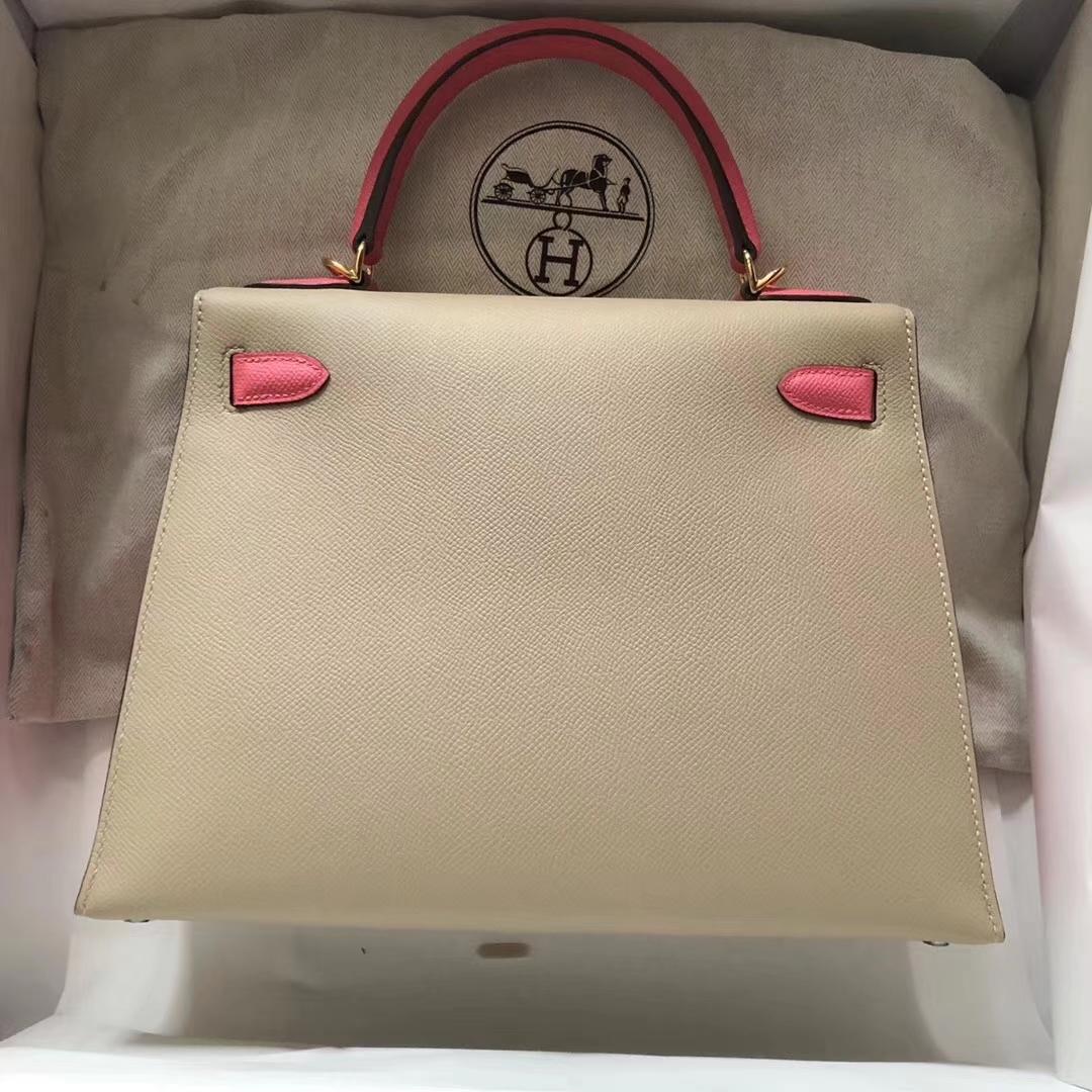 Fashion Hermes S2 Trench Grey/8W Rose Azalee Epsom Calf Kelly Bag28CM Gold Hardware