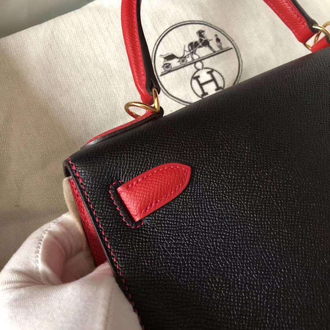 Discount Hermes Epsom Calf Kelly28CM Bag in CK89 Black/Q5 Rouge Casaque Gold Hardware