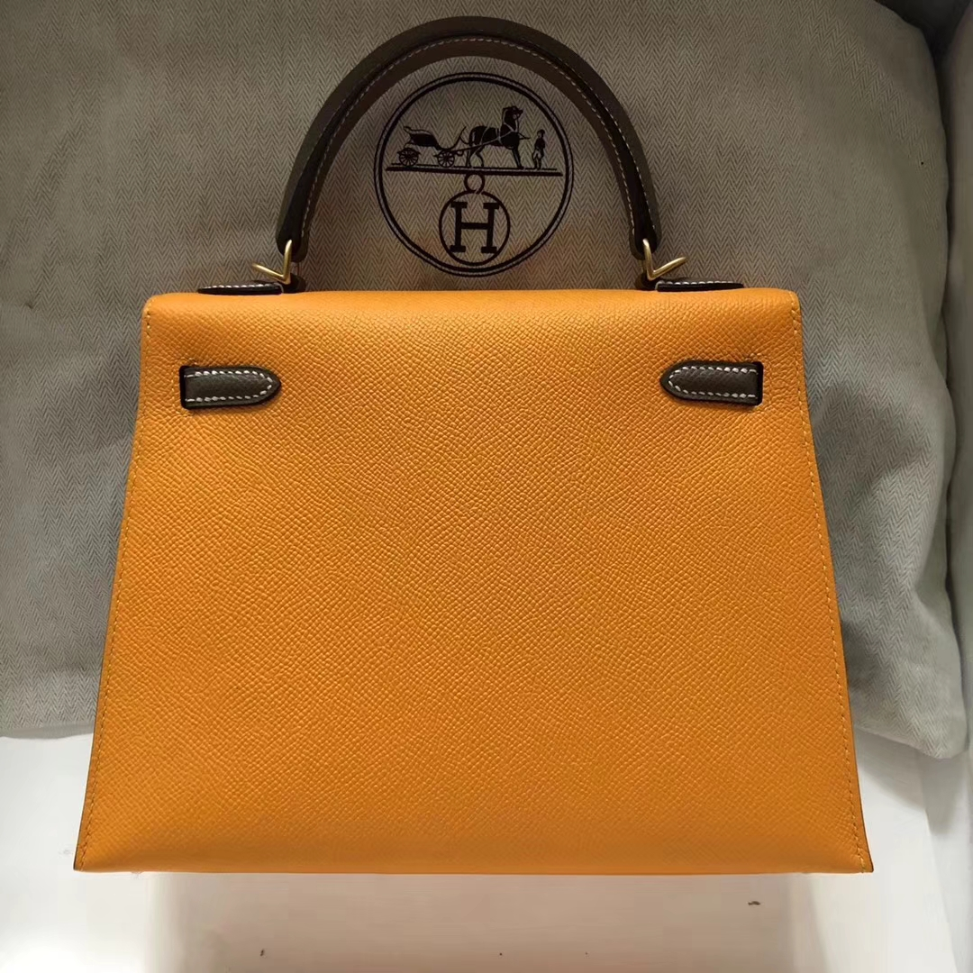 Wholesale Hermes 9V Jaune d'or/CK18 Etoupe Grey Epsom Calf Kelly Bag28CM Gold Hardware