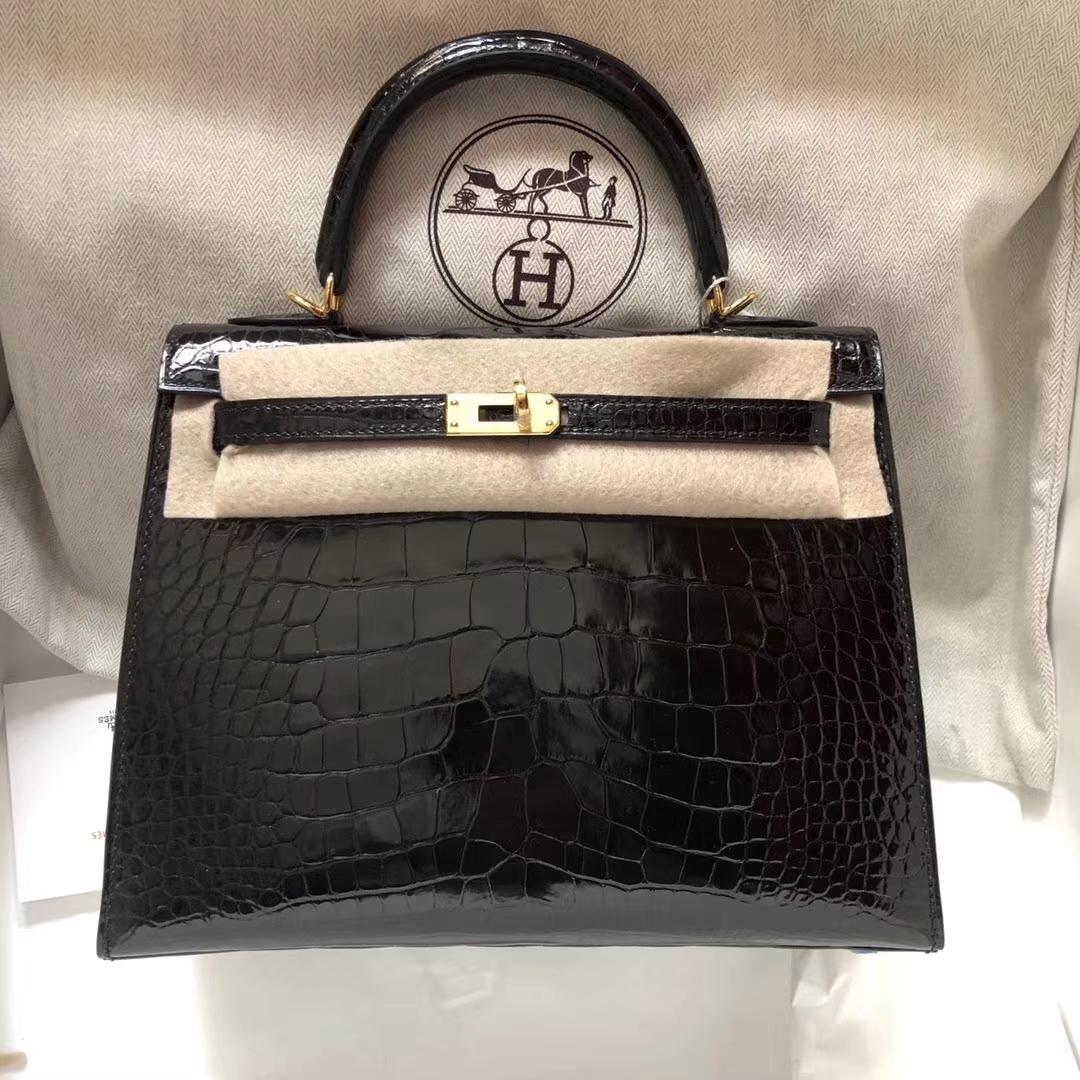 Sale Hermes CK89 Black Shiny Alligator Crocodile Kelly28CM Bag Gold Hardware