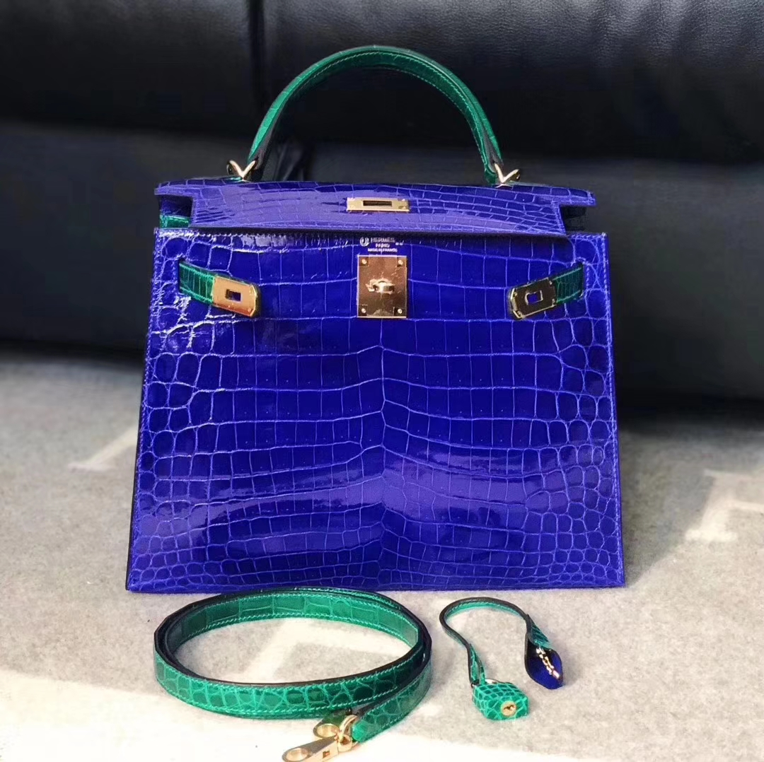 Luxury Hermes 7T Blue Electric/6Q Emerald Green Shiny Nilo Crocodile Kelly Bag28CM Gold Hardware