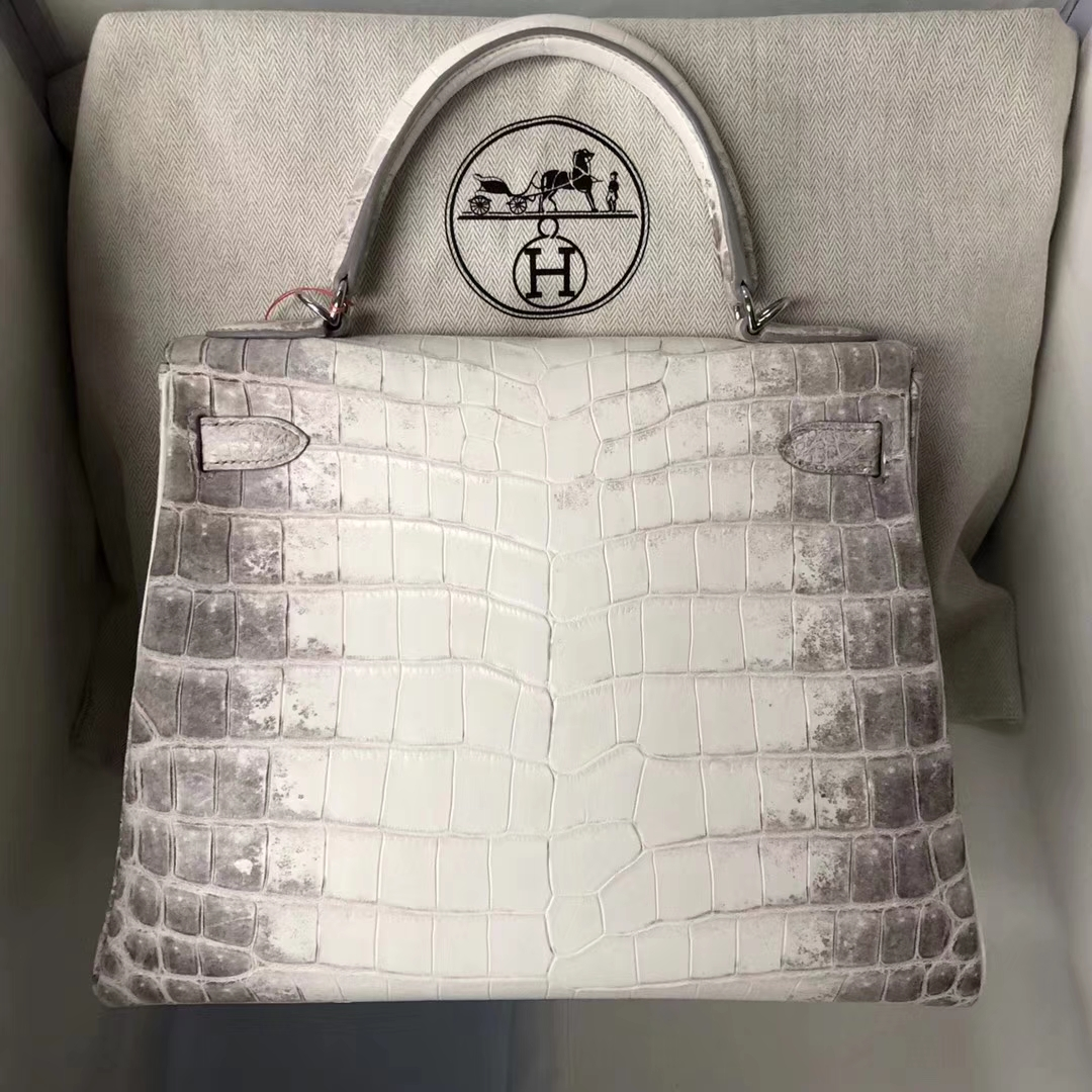 Discount Hermes Himalaya Crocodile Leather Kelly28CM Bag Silver Hardware