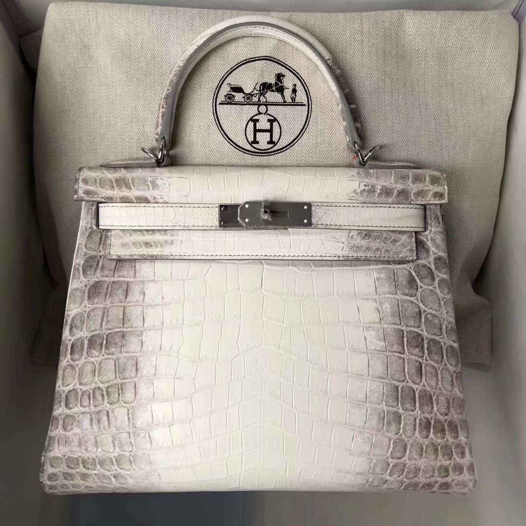 Noble Hermes Crocodile Leather Retourne Kelly Bag28CM in Himalaya Color Silver Hardware