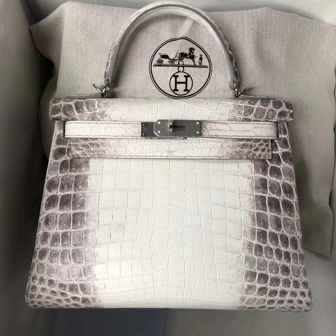 Elegant Hermes Himalaya Crocodile Leather Kelly28CM Tote Bag Silver Hardware