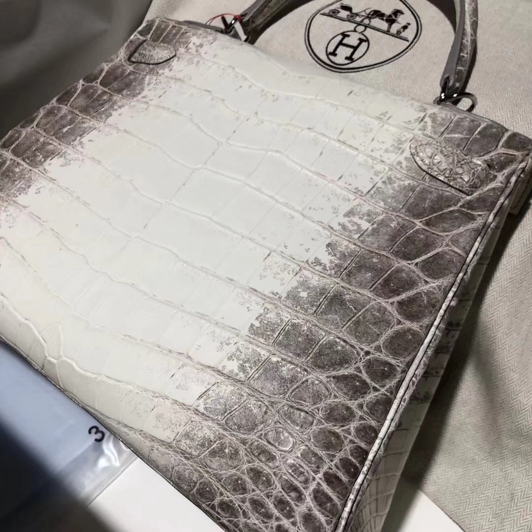 Wholesale Hermes Himalaya Crocodile Leather Kelly28CM Women's Bag Silver Hardware