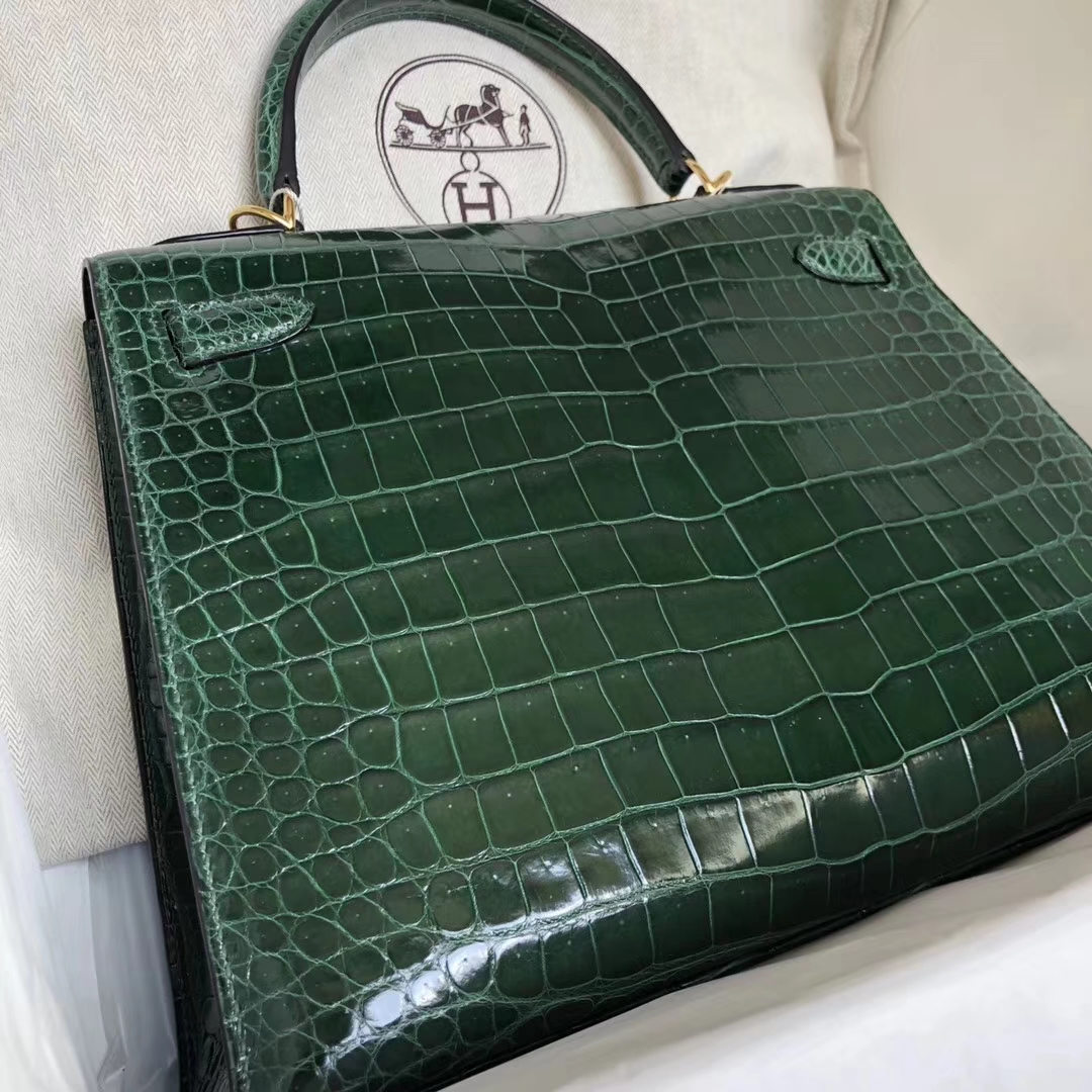 Discount Hermes CK67 Vert Fonce Shiny Crocodile Leather Kelly28CM Bag Gold Hardware