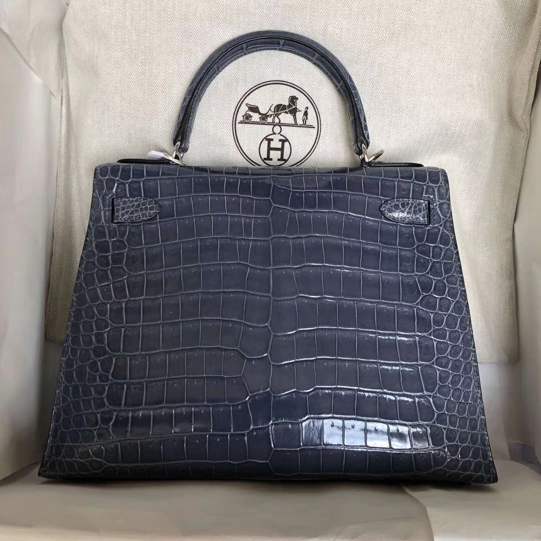 Wholesale Hermes 7N Blue Tampete Shiny Crocodile Leather Kelly Bag28CM Silver Hardware