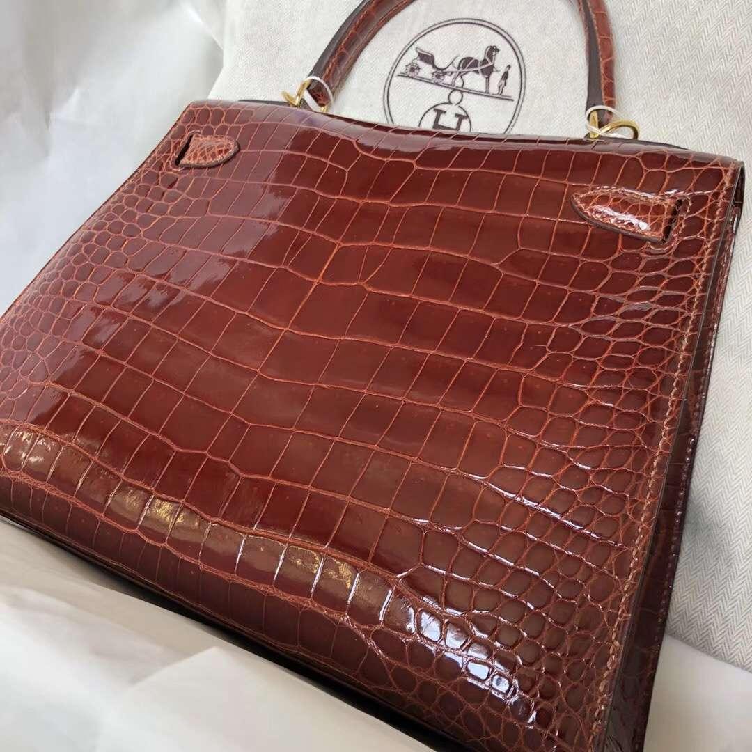 New Arrival Hermes CK31 Miel Porosus Shiny Crocodile Kelly28CM Handbag Gold Hardware