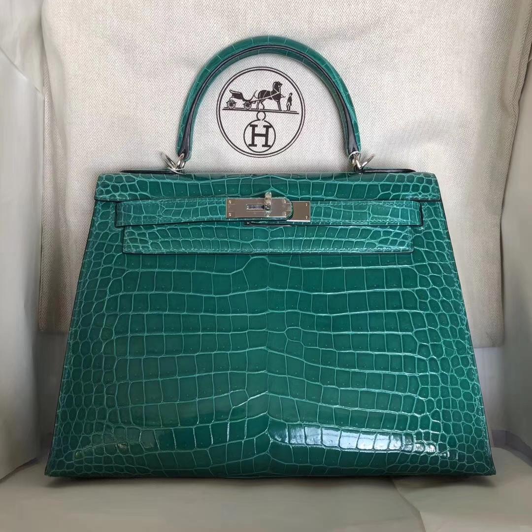 Luxury Hermes Shiny Crocodile Leather Kelly Bag28CM in 6Q Emerald Green Silver Hardware
