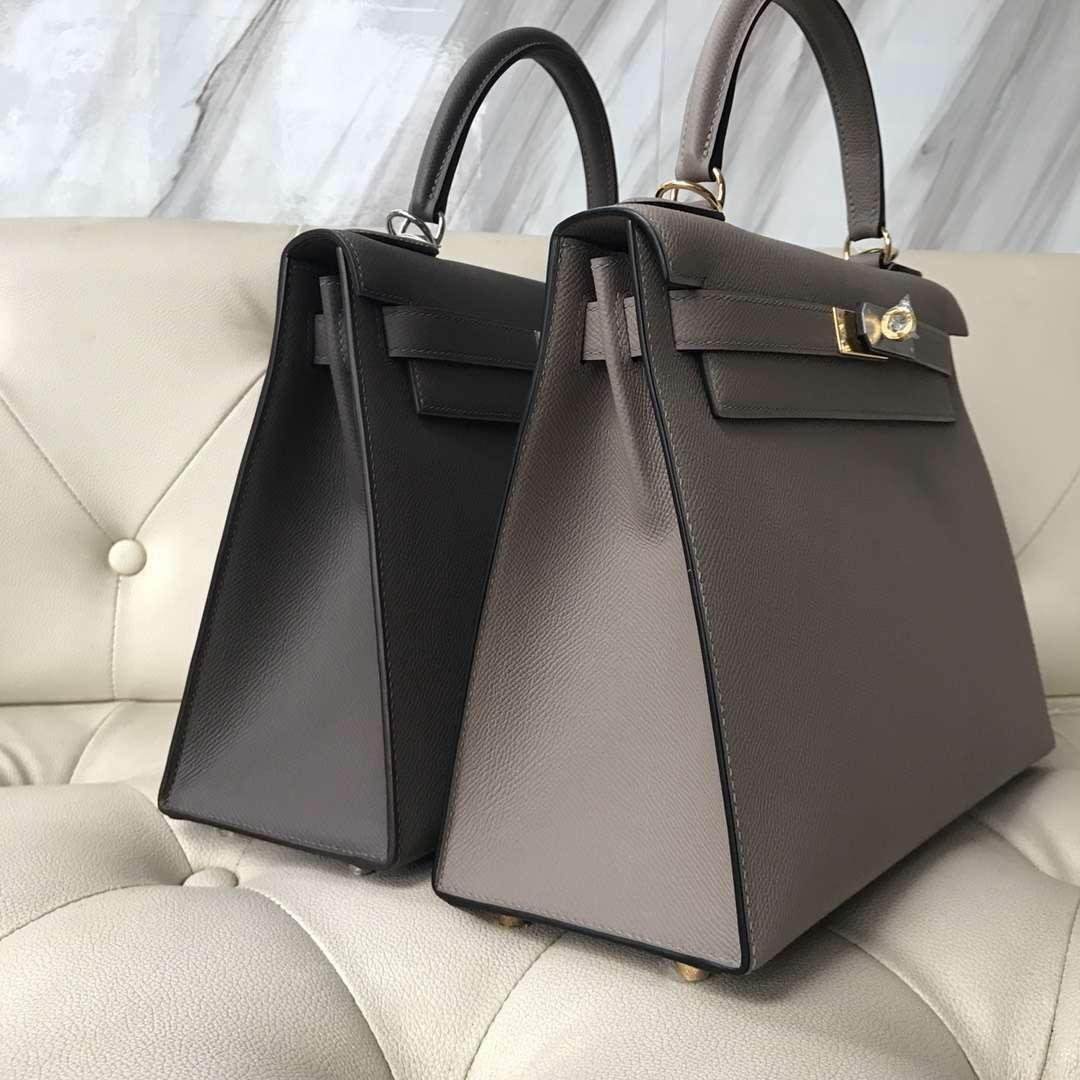 Fashion Hermes 8F Etain Grey/M8 Gris Ashpite  Epsom Calf Sellier Kelly Bag28CM