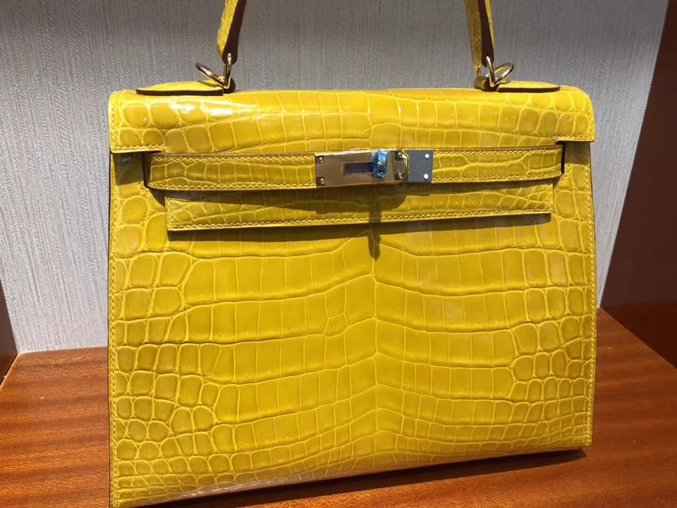 Luxury Hermes Shiny Crocodile Kelly Bag28CM in 9D Ambre Yellow Gold Hardware
