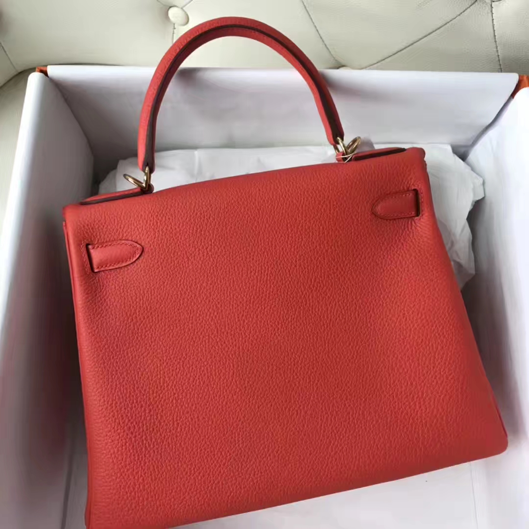 Discount Hermes 9T Capucine Orange Togo Calf Kelly Bag28CM Gold Hardware