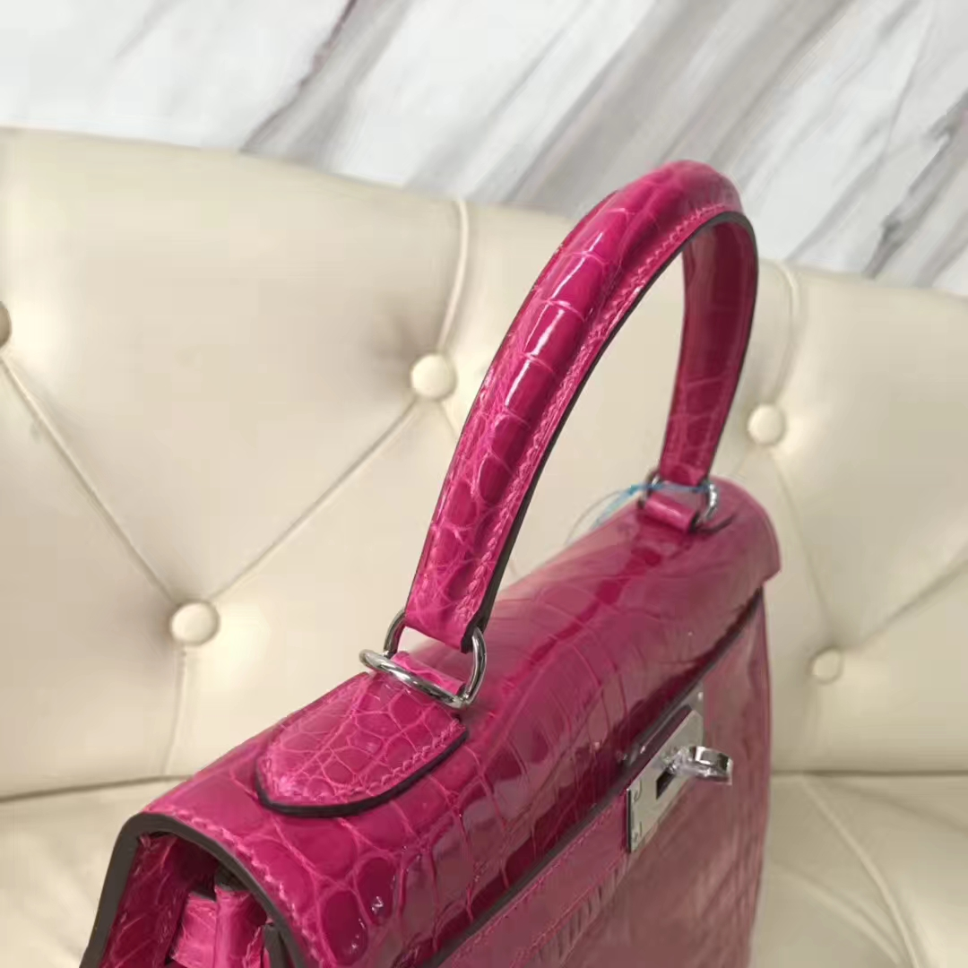 Luxury Hermes Shiny Crocodile Leather Kelly28CM Bag in J5RoseScheherazade Silver Hardware