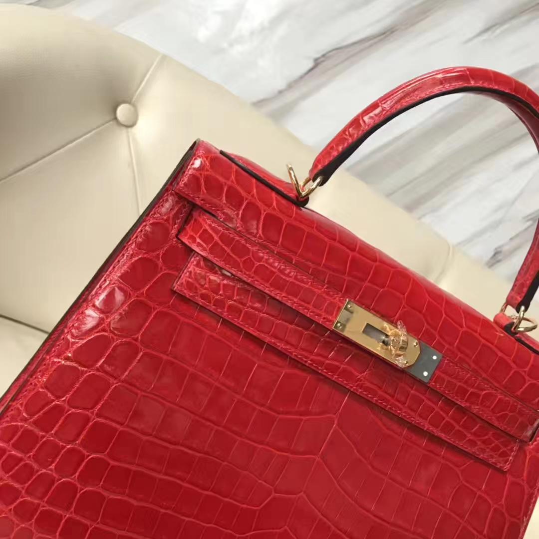 Pretty Hermes CK95 Braise Shiny Crocodile Kelly28CM Tote Bag Gold Hardware