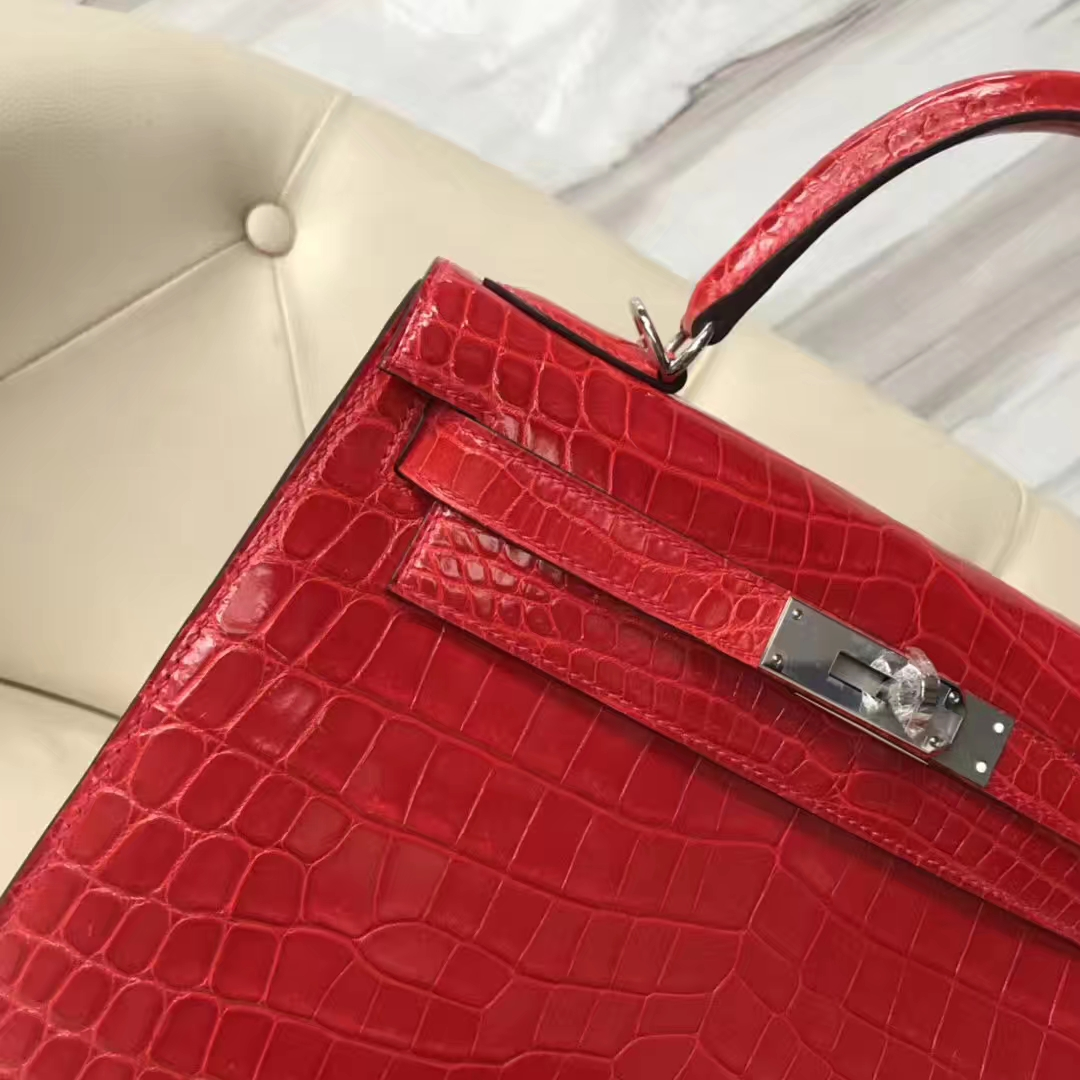 Sale Hermes Shiny Crocodile Kelly Bag28CM in CK95 Braise Silver Hardware