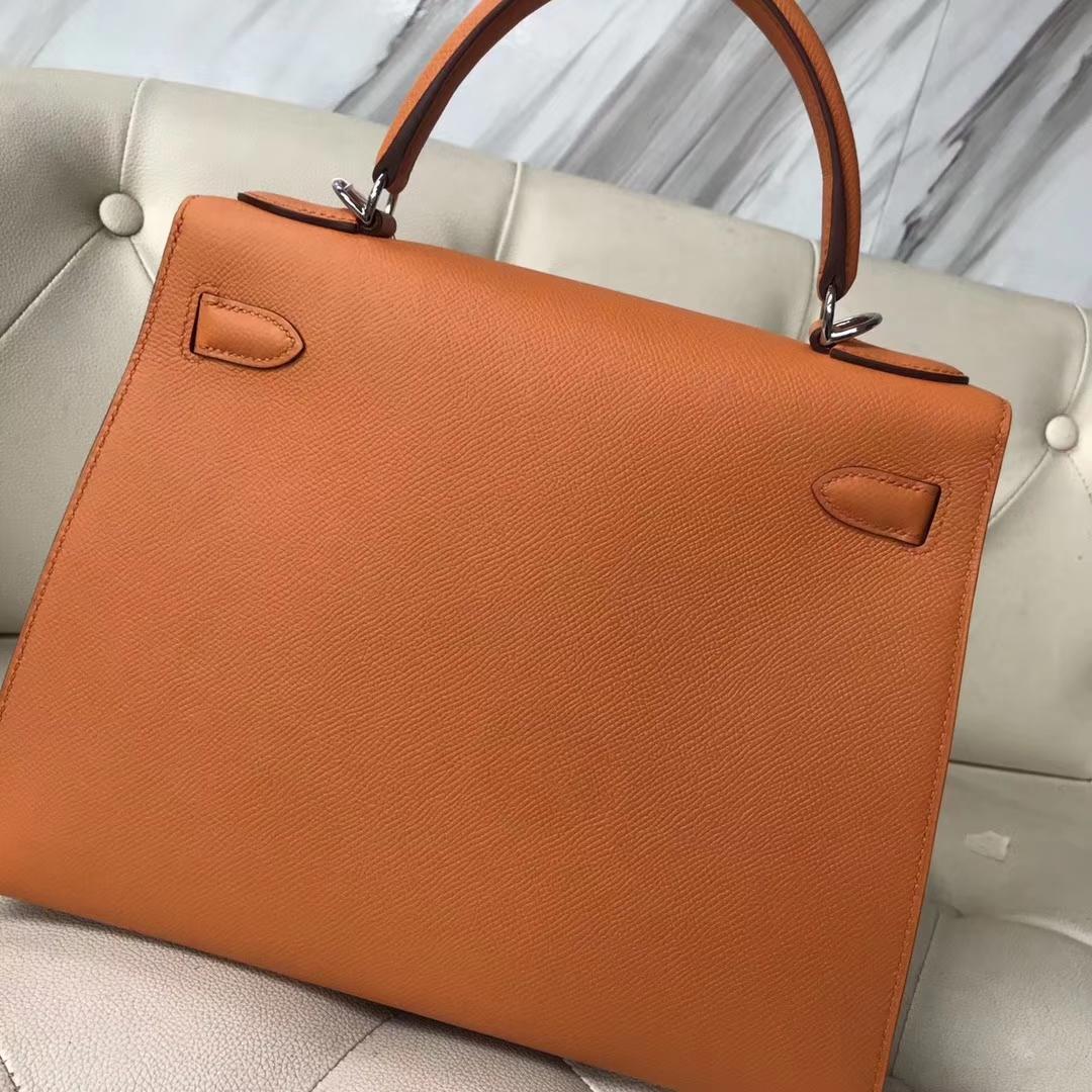 Fashion Hermes Three Color Epsom Calf Sellier Kelly Bag28CM Silver Hardware
