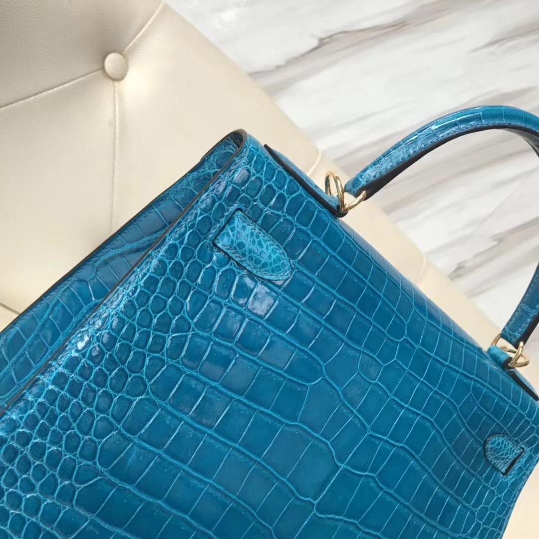 Luxury Hermes Porosus Shiny Crocodile Kelly28CM Tote Bag in 7W Blue Izmir Gold Hardware