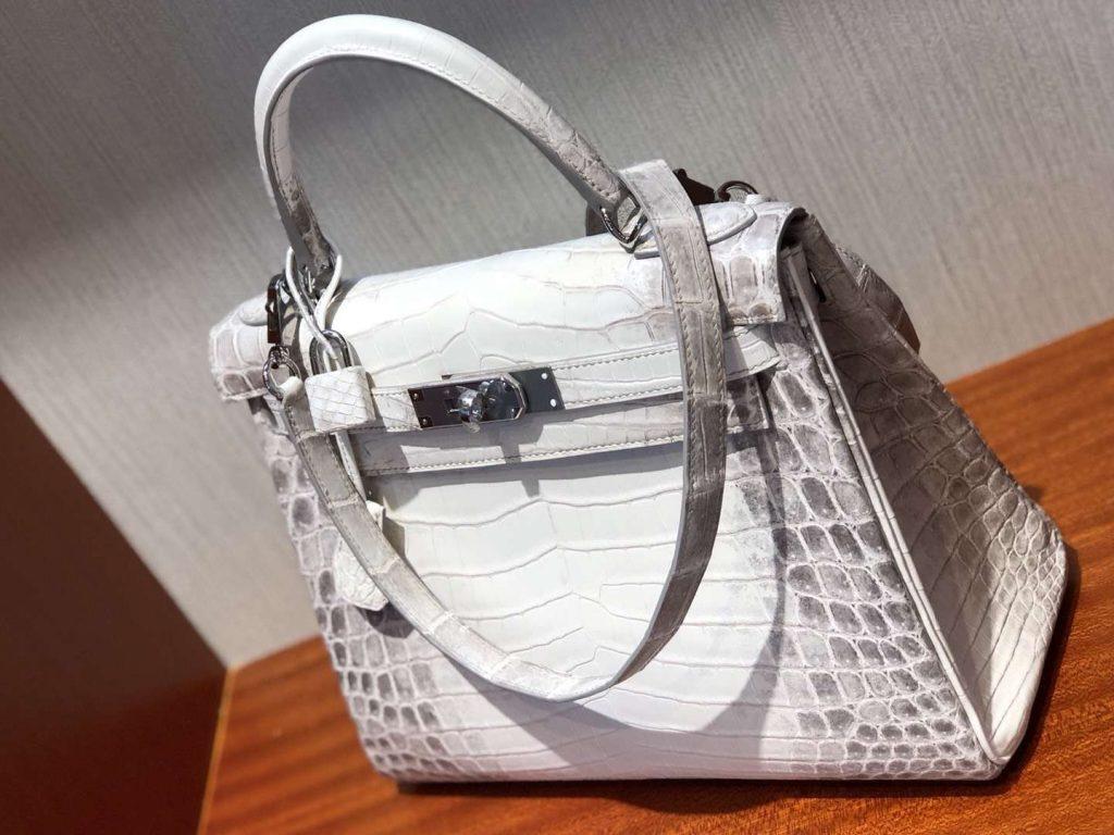 Elegant Hermes Himalaya Crocodile Leather Kelly28CM Handbag Silver Hardware