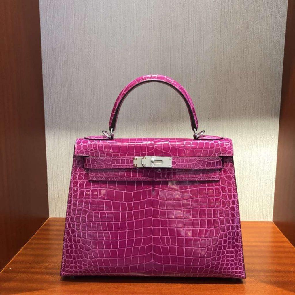 Luxury Hermes J5 Rose Scheherazade Shiny Crocodile Kelly Bag28CM Silver Hardware