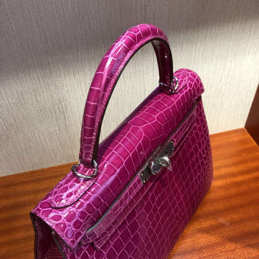 Luxury Hermes J5 Rose Scheherazade Shiny Crocodile Kelly Bag28CM Silver Hardware
