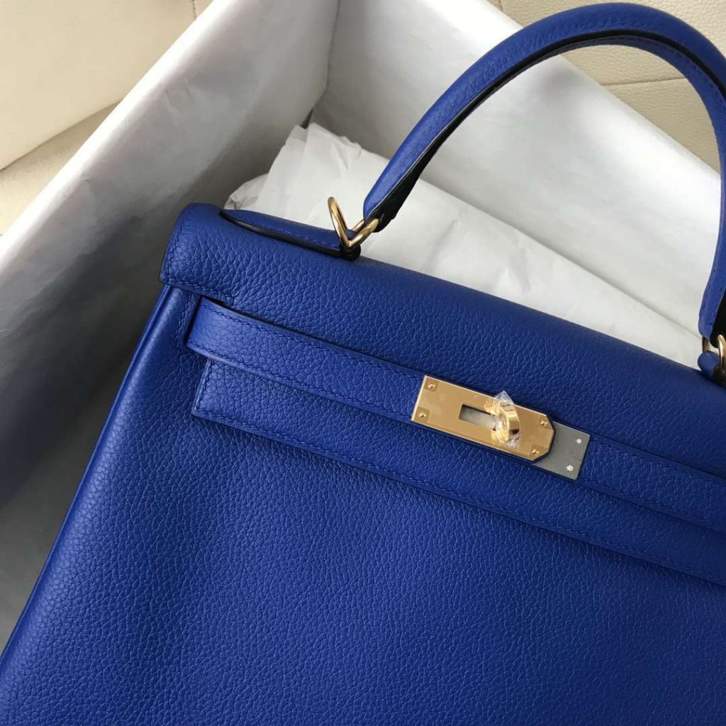 Fashion Hermes I7 Blue Zellige Togo Calf Kelly28CM Tote Bag Gold Hardware