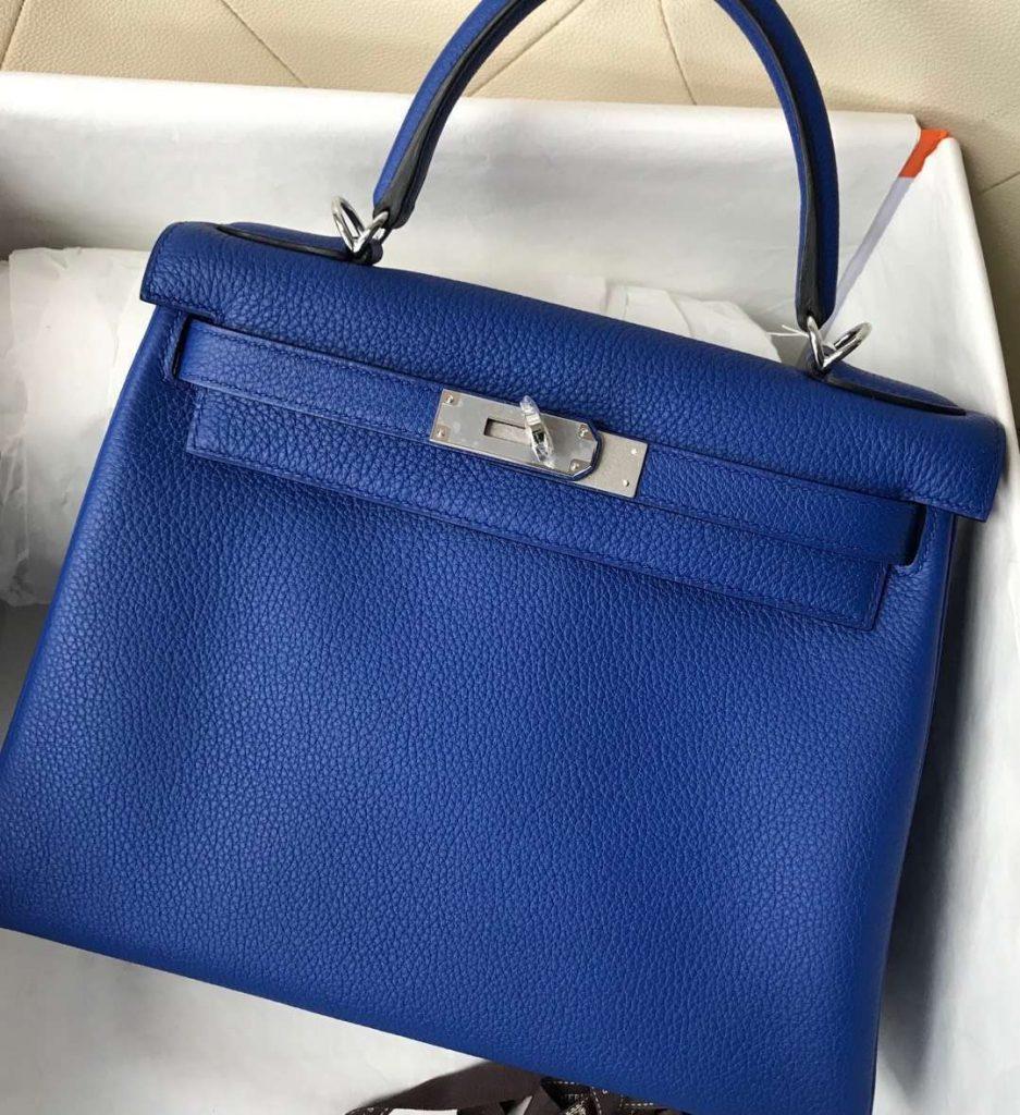 Elegant Hermes Togo Calf Kelly Bag28CM in I7 Blue Zellige Silver Hardware