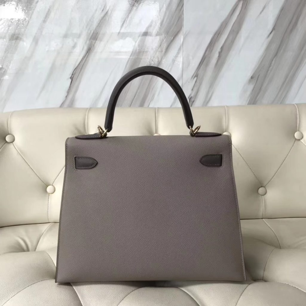Discount Hermes M8 Gris Ashpite/8F Etain Grey Epsom Calf Kelly28CM Tote Bag Gold Hardware