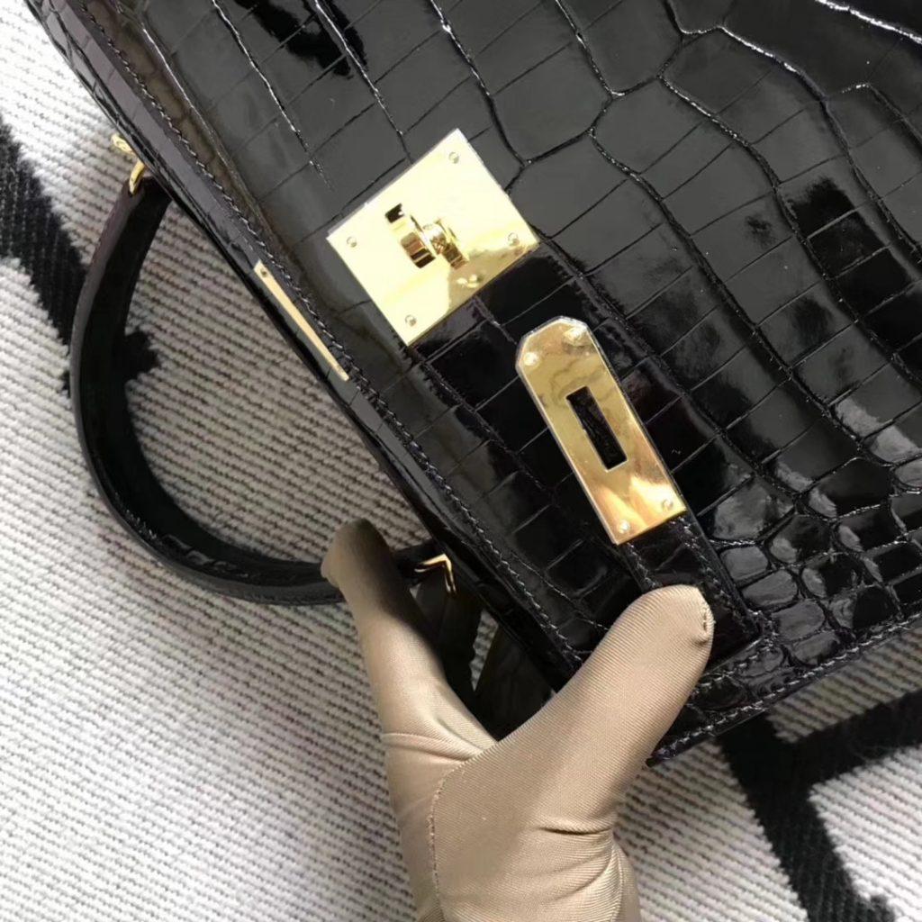 Fashion Hermes Black Shiny Crocodile Leather Sellier Kelly28CM Gold Hardware