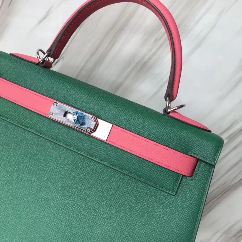 New Hermes U4 Vert Verigo/8W Rose Azalee Epsom Kelly Bag28CM Silver Hardware
