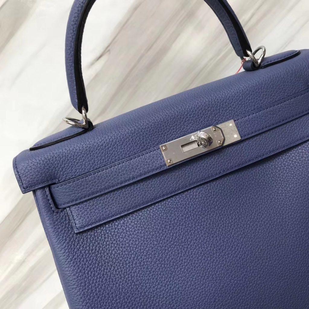 Wholesale Hermes 7E Blue Brigton Togo Calf Kelly28CM Women's Tote Bag Silver Hardware
