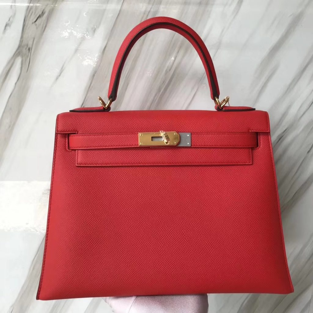 Fashion Hermes 2019 New Color S3 Rose De Coeur Epsom Kelly28CM Gold Hardware