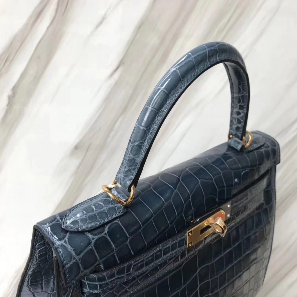 Discount Hermes 1P Blue Colvert Shiny Crocodile Leather Sellier Kelly28CM Tote Bag Gold Hardware