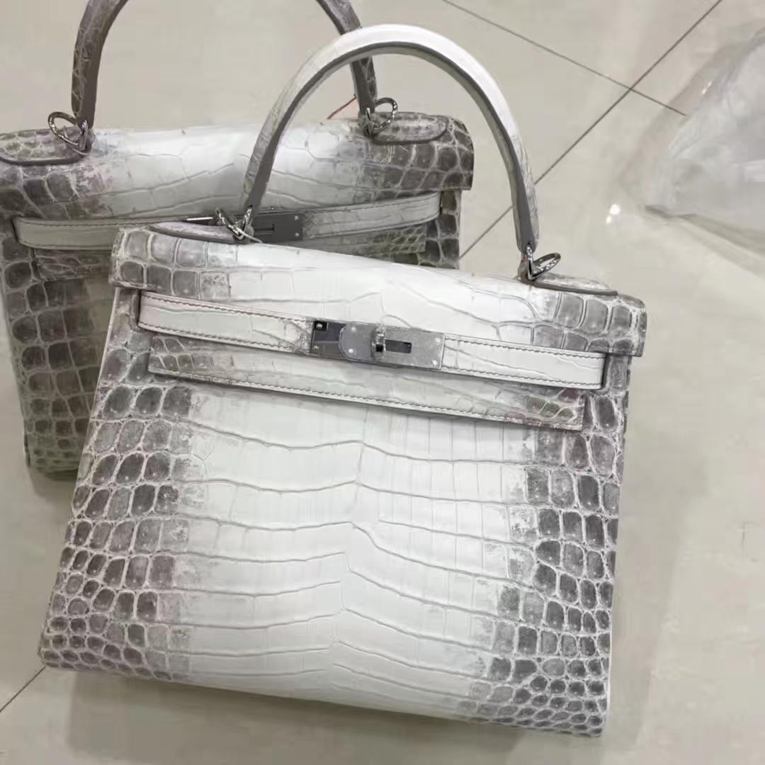 Stock Hermes Himalaya Crocodile Leather Retourne Kelly28CM Bag Silver Hardware