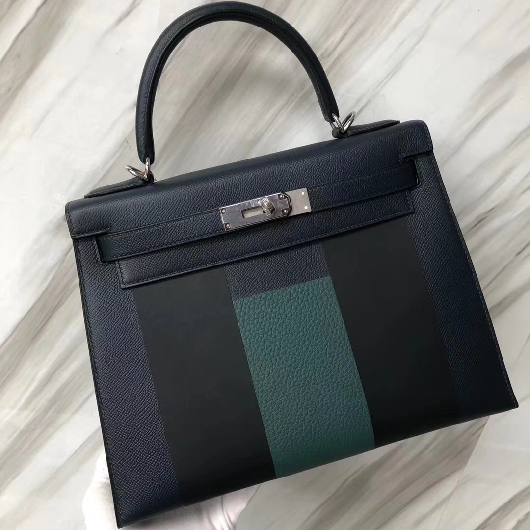 Stock Hermes Epsom Calf H Alphabet Kelly Bag28CM in 6O Vert Cypres Silver Hardware