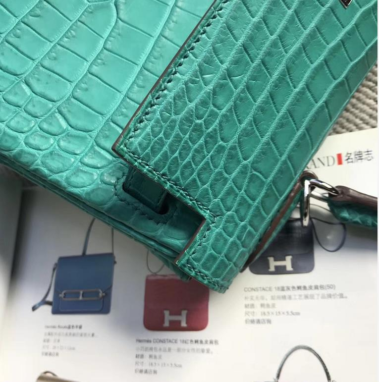 Stock Hermes 7F Blue Paon Crocodile Matt Kelly28CM Bag Silver Hardware