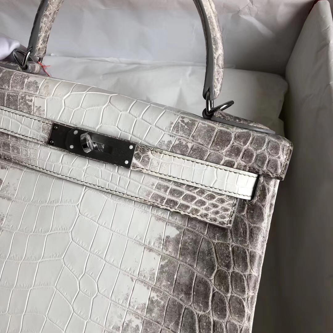 Stock Hermes Crocodile Leather Kelly28CM Tote Bag in Himalaya Silver Hardware