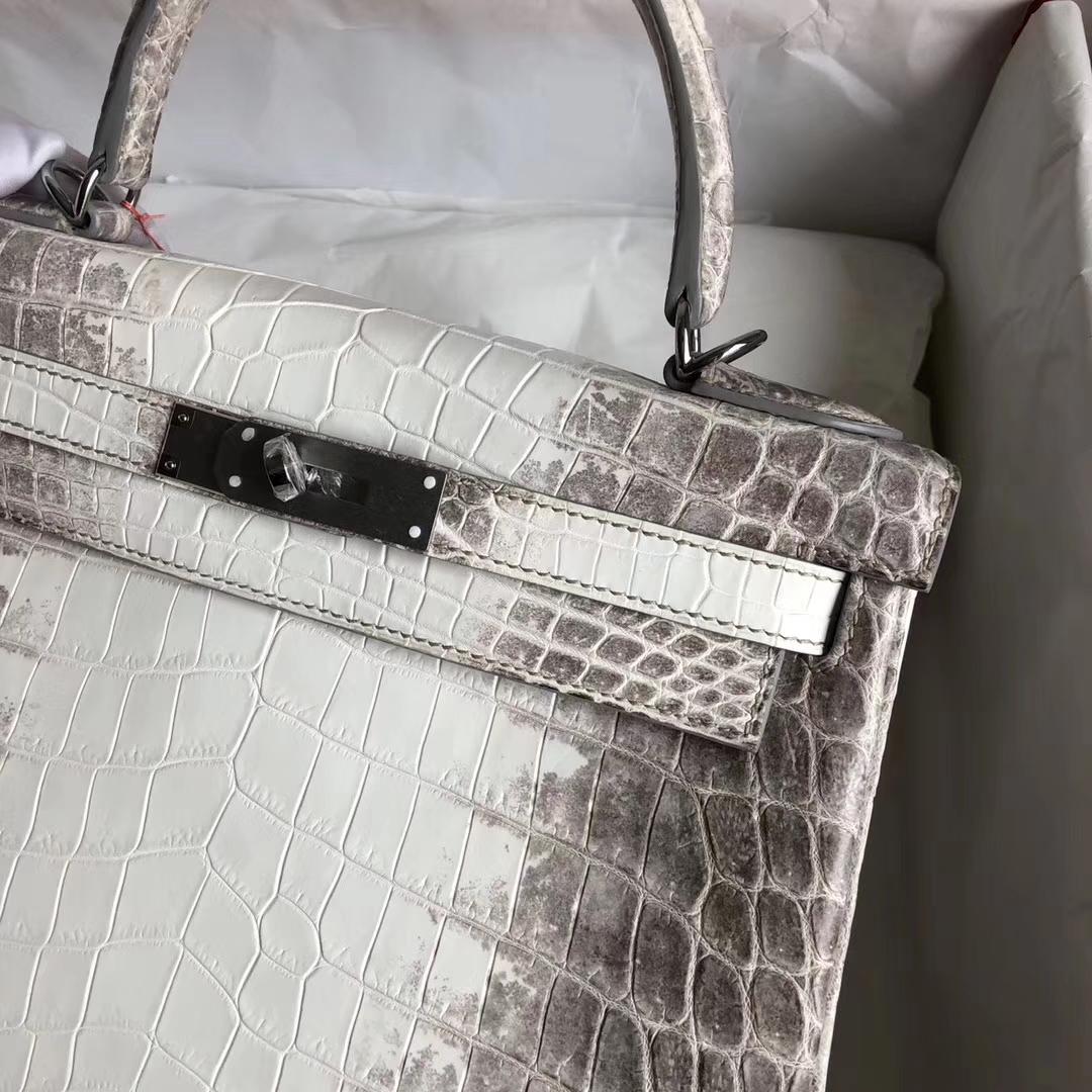 Stock Hermes Crocodile Leather Kelly28CM Tote Bag in Himalaya Silver Hardware